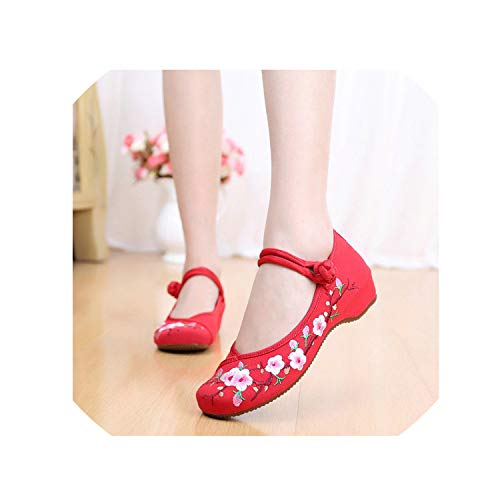 The Fairy Plum Flower Embroidered Woman Casual Cotton Shoes Old Beijing Style Ballet Flat Handmade Buckle Strap Shoes,Red,6.5