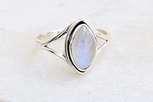 Rainbow Moonstone Ring 925 Sterling Silver Rainbow Moonstone Girl Women Gift Ring Size US 5 6 7 8 9 10 11 12