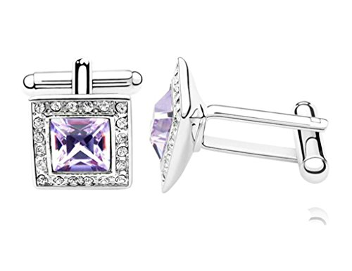 Epinki Womens Mens Gold Plated Cufflinks Crystal Square Cubic Zirconia Purple Business Wedding - Oroton Sales