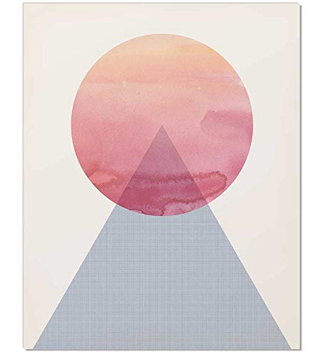 Midcentury Modern Art, Abstract Watercolor Poster, Abstract Mountain, Geometric Watercolor Poster, Pastel Wall Art, Mountain Print, Circle Triangle, Pink Blue, Geometric Wall Art, 8x10 Poster