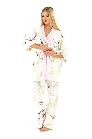 The Olian 5pc. Nursing PJ Set w/ matching Baby Outfit, X-Small, Print/Pink