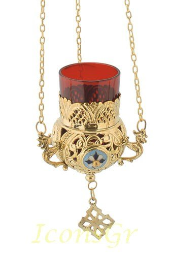 Gold Plated Orthodox Greek Christian Bronze Hanging Votive Vigil Oil Lamp with Chain and Red Glass - 9685g by Iconsgr