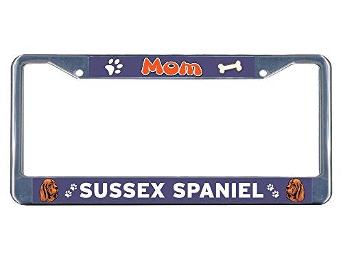 Sign Destination Metal License Plate Frame Solid Insert Sussex Spaniel Dog Mom Car Auto Tag Holder - Chrome 2 Holes, One Frame