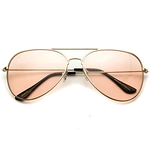 Sunglasses Lens Pink - Classic Aviator Style Metal Frame Sunglasses Colored Lens (Pink Lens, 59)
