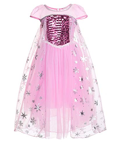 JerrisApparel Girl Princess Elsa Costume Sequin Mesh Party Dress with Sleeve (3T, Pink - Short Sleeves)]()
