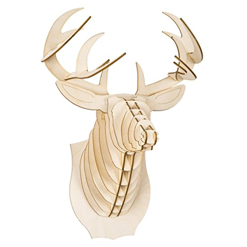 (Cardboard Safari Deer Trophy Head Baltic Birch Plywood, Animal Taxidermy,)