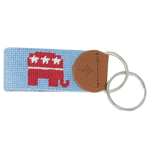 Islanders Hand-Stiched Needlepoint and Leather Key Fob for Keychains, Elephant Light Blue/Light Brown, One Size ()
