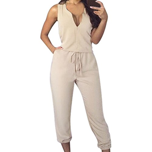 Respctful Sexy V-Neck Sleeveless Casual Shirt Long Loose Siamese Pants Zipper Jumpsuits for Women (Beige, M)
