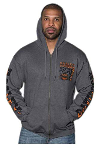 - Harley-Davidson Men's Gravel Road Bar & Shield Zip-Up Poly-Blend Hoodie (3XL) Gray
