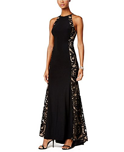Xscape Tattoo Illusion Halter Evening Gown Dress