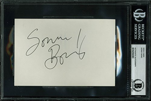 (Sonny Bono Authentic Signed 4x6 Index Card Autographed BAS Slabbed)
