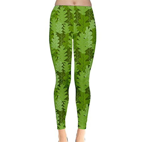 CowCow Green Leaves Repeating Pattern Leggings, Green-XS