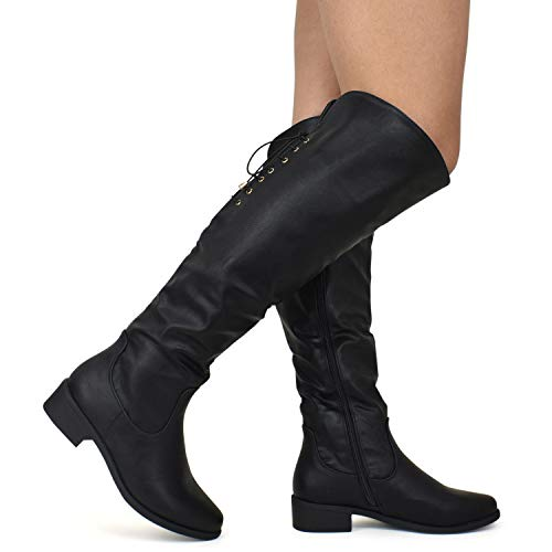 Premier Standard Women's Lace Thigh High Over The Knee Riding Boots - Side Zipper Comfy Vegan Suede Premium Black Pu*