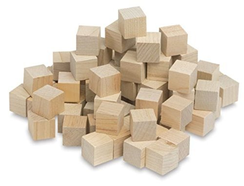 Hygloss Products Unfinished Wood Blocks - Blank Wooden Building Block Cubes – 3/4 Inches, 72 (Custom Wood Letter Blocks)