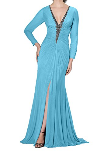 Charmant Promkleider V Mit Etuikleider Hell ausschnitt Blau Brautmutterkleider Abendkleider Langarm Damen Grau rxq40wHrf