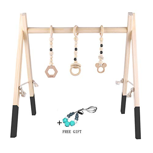 Baby Play Activity Gym Frame by GOZYE | Development for Brain, Fine, Gross Motor& Sensory | Wooden Baby Teething Mobiles & Silicone Teething Necklace | Photography Prop for Newborns Room Decor(Black)