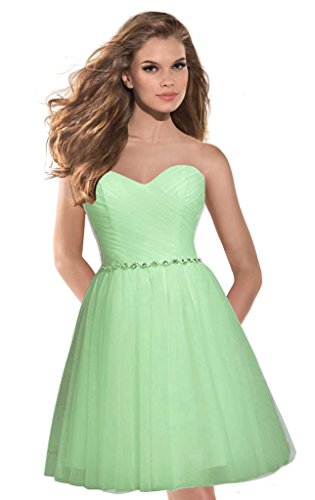 Green Bridesmaid Beaded Aurora Pale Dresses Tulle Sweetheart 2016 Prom Bridal Short Dress qSSIP1w