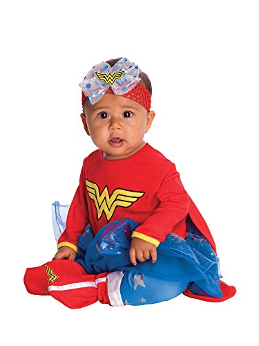 (DC Comics Baby Wonder Woman Onesie and Headpiece, Red, 6-12)