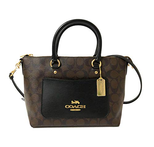 Coach Mini Emma Satchel Crossbody Handbag (IM/Brown/Black)