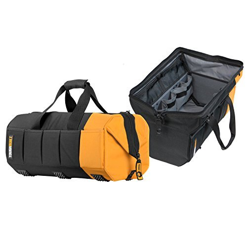 ToughBuilt - 20'' Massive Mouth Tool Bag | 51 Pockets & Loops, Heavy-duty, Rigid Hard Body Lining, Zipper Lock Wide Mouth Tool Storage/Organizer Box, Plastic-lined External Pocket (TB-60-20) by ToughBuilt