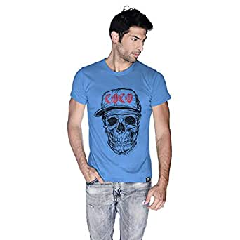 Creo Black Red Coco Skull T-Shirt For Men - M, Blue