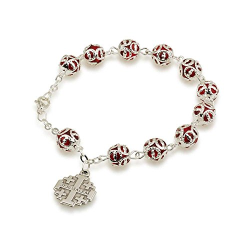 Marina Jewellery Hand Painted Faceted Glass Bead and Silver Plated Chain Rosary Bracelet with Jerusalem Cross Pendant -