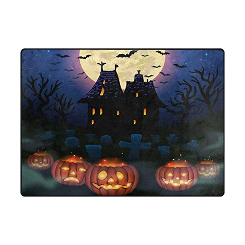 Area Rug Carpet Floor Mat, Halloween Wicked House with Pumpkins Super Soft Non-Slip Floor Rugs Nursery Play Mat Yoga Pads for Women Kids Toddlers Home Decor 4'x6']()