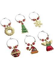6pcs / set Alloy Zilver kerst Wine Glass Cup Decoratie Ring Party Feestelijke Huis vaatwerk Decors Ornamenten Hangers (Rood en Goud)