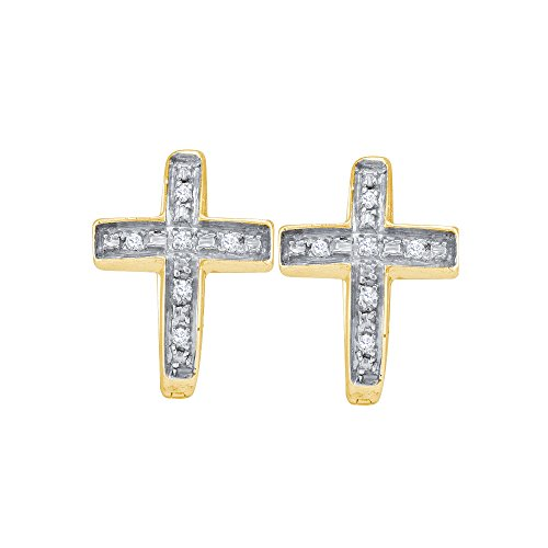 Yellow-tone Sterling Silver Womens Round Diamond Cross Earrings 1/20 Cttw (I2-I3 clarity; J-K color) (Studs Earrings Diamond Cross)
