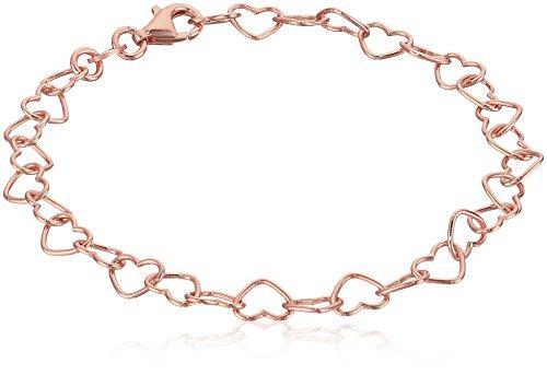 Rose Gold Plated Sterling Silver 5.3mm Heart-Link Bracelet, 7