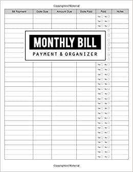 monthly bill payment organizer money debt tracker simple home