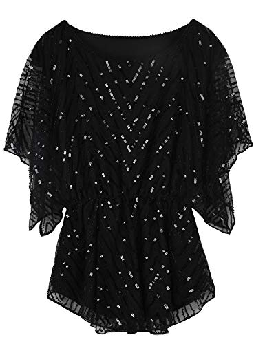 PrettyGuide Women's Sequin Top Glitter Angel Sleeve Elegant Kimono Blouse Dressy Tunic Tops Black US14
