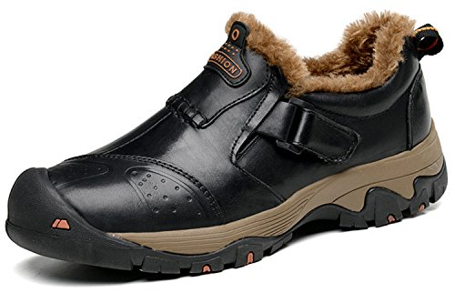 RAINSTAR Mens Full Grain Leather Outdoor Mountaineering Hiking Walking Shoe Black With Fleece