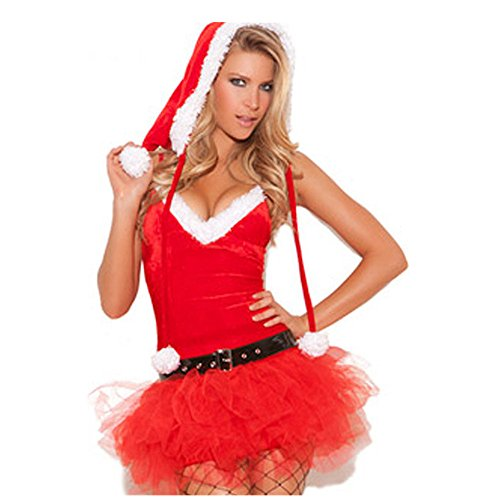 [Kinghard Women Christmas Red Santa Claus Velvet Costume Outfit Fancy Xmas Dress] (Lady Santa Outfit)