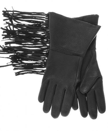 Geier Glove Men's Western Fringe Deerskin Gauntlets Size 8 Color Black