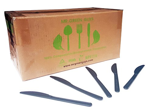 Cornstarch Value Pack - Biodegradable / Compostable Heavyweight Disposable Knives - 1000CT VALUE PACK, CPLA KNIVES - Eco Friendly Compostable knives made from cornstarch