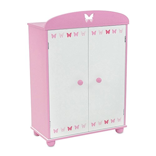 18 Inch Doll Furniture | Doll Closet Armoire with Butterfly Detail, Includes 5 Wooden Clothes Hangers | Fits 18