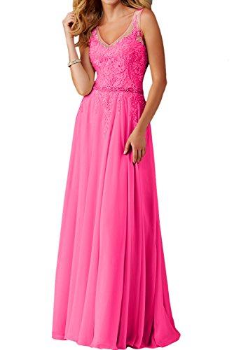 schleppe Festkleid Spitze V Einfach Abendkleider Ausschnitt Dunkelrosa Damen Promkleider Lang A Linie Ivydressing Ballkleid FT4x7w