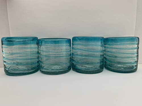 Mexican Artisan Crafted Hand Blown Clear Turquoise Blue Rim with Spiral Recycled Glass Old Fashion Glasses, 14 oz. (SET OF ()