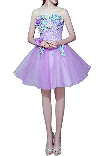 Traegerlos Suess Partykleid Damen Lila Schnuerung Blumen Cocktailkleider Ivydressing Kurz Abendkleider Abibllkleider EARPSxq