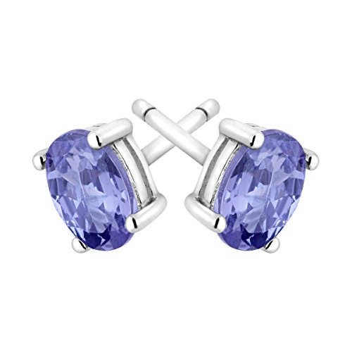 1 ct Natural Tanzanite Oval Stud Earrings in Sterling Silver by Finecraft (Image #1)