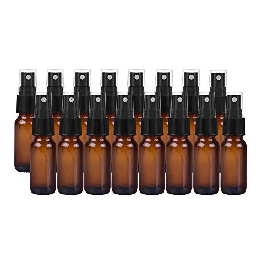 16 Pack Empty Amber Glass Spray Bottles,0.5 oz 15ml Refillable Containers for Essential Oils, Cleaning Products, Aromatherapy, Durable Black Trigger Sprayer Fine Mist