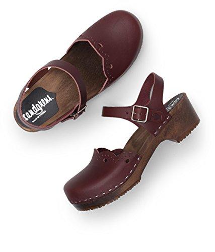 Sandgrens Swedish Wooden Low Heel Clog Sandals For Women | Sandgrens Svensk Træ Lave Hæl Tilstoppe Sandaler Til Kvinder | Milan Bordeaux Milan Bordeaux Su2LAZn