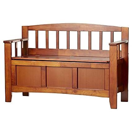 Amazon Com Wood Storage Bench With Back Storage Bench With Flip