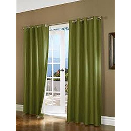 green curtains for living room.  SIZES COLORS 60 1 PANEL SOLID LINED FOAM BLACKOUT HEAVY THICK WINDOW TREATMENT CURTAIN DRAPES SILVER GROMMETS 108 LENGTH LIME GREEN Green Curtains For Living Room Amazon com