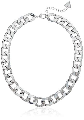 GUESS Women's W Stones Hot in The City Chain Necklace, Silver