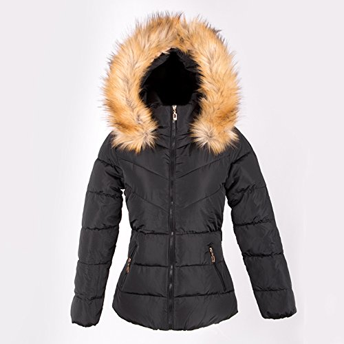 Womens Faux Fur Hooded Parka Jacket Quilted Padded Down Short Winter