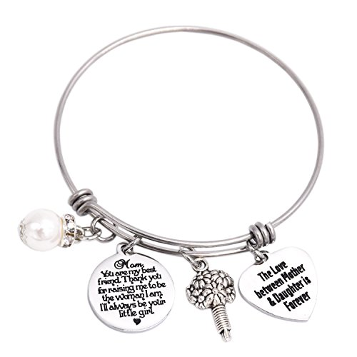 LParkin Mom You are My Best Friend. Thank You For Raising Me to Be The Love BeTween Mother Daughter Is Forver (Bangle) (Thank You Jewelery)