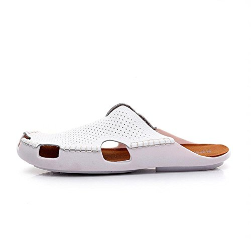 Heart&M Zapatos de las mujeres de la nueva marca cerrado dedo del pie talón bajo suela plana hueco de cuero genuino sandalias de los deslizadores de la playa White