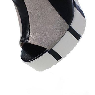 LvYuan Mujer-Tacón Robusto-Talón Descubierto Zapatos del club-Sandalias-Vestido Informal-Semicuero-Azul Plata Oro Gold